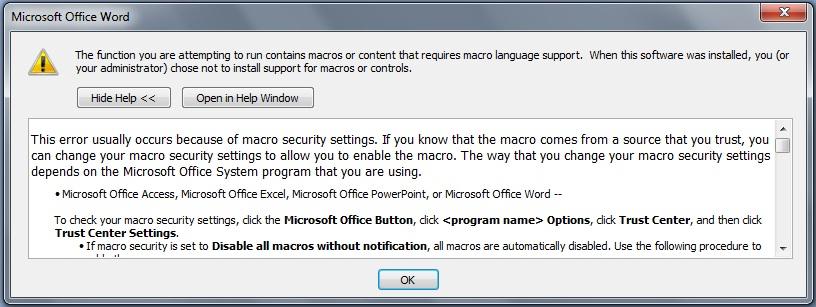 Sửa lỗi macro khi mở file word, click ok nhiều lần mới mở được